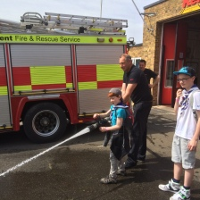 Aidan testing out the Margate Fire Station hoses.