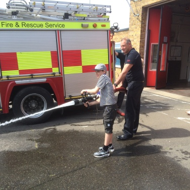 Oliver using the fire hoses in Margate.