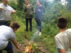 Starting the bonfire