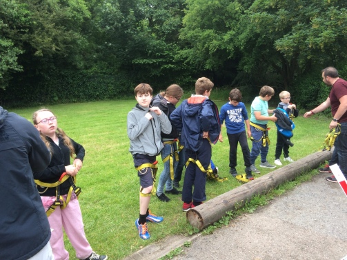 Scouts getting ready to do climbing