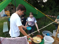 Scouts serving up dinner