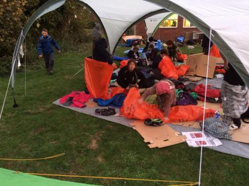 The Scouts waking up after a rough night!
