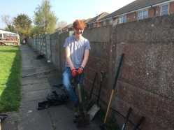 Euan and his collection of gardening tools