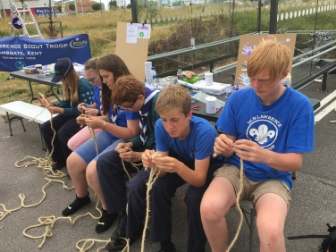 Our Scouts learning to tie knots!