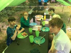Our Scouts eating breakfast