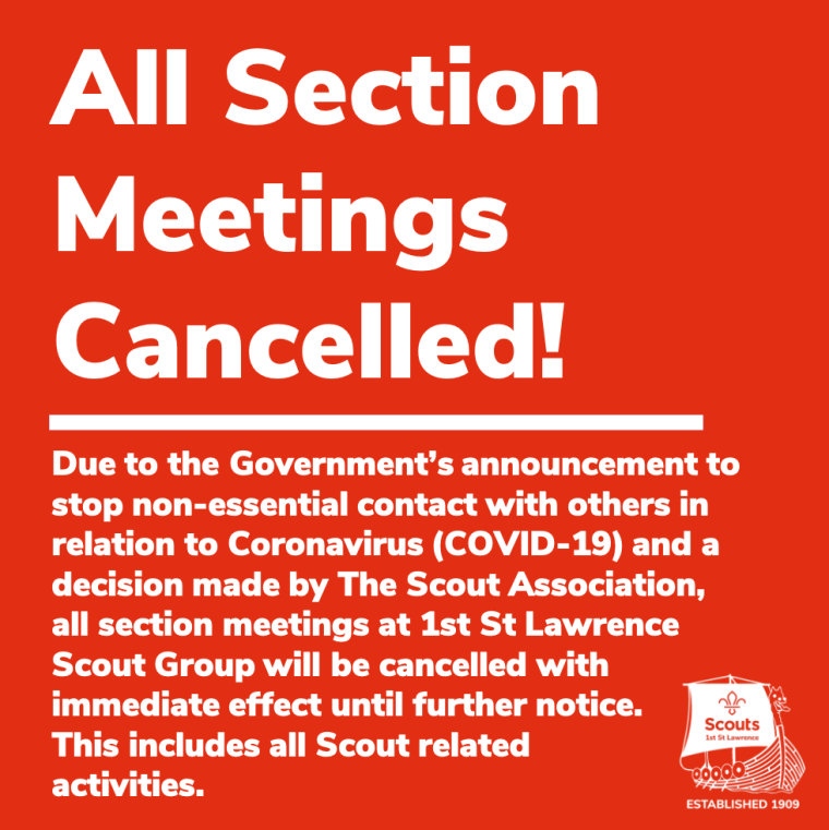 ALL SECTION MEETINGS CANCELLED!